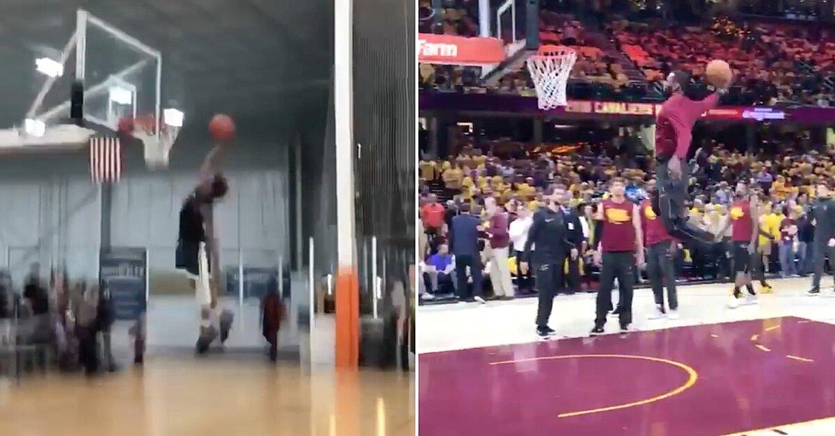 4057abdb78b LeBron James copies son s dunk in warmups (video)