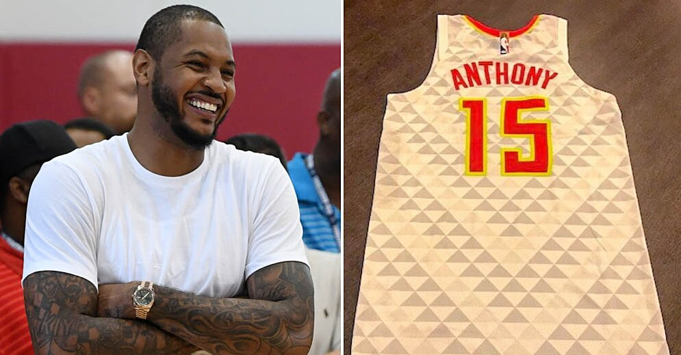 new concept 7459a 3506e Carmelo Anthony: Hawks send Atlanta jersey to Rockets F | SI.com