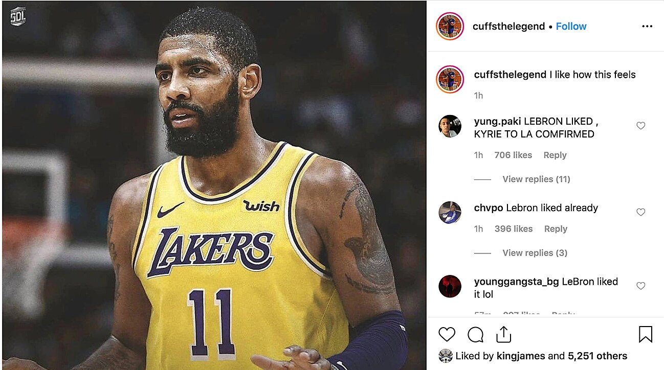 finest selection 22046 0f899 LeBron James liked Instagram post of Kyrie Irving in Lakers ...