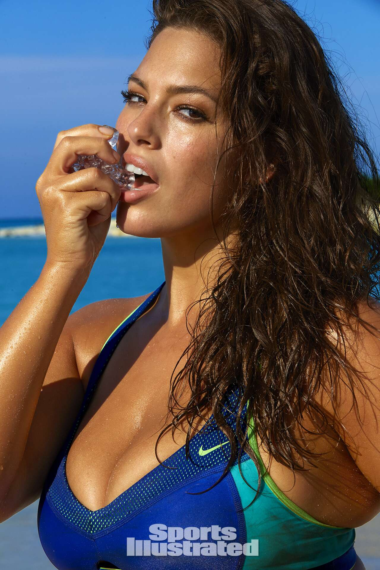Ashley Graham was photographed by James Macari in Turks & Caicos. Swimsuit by Nike.