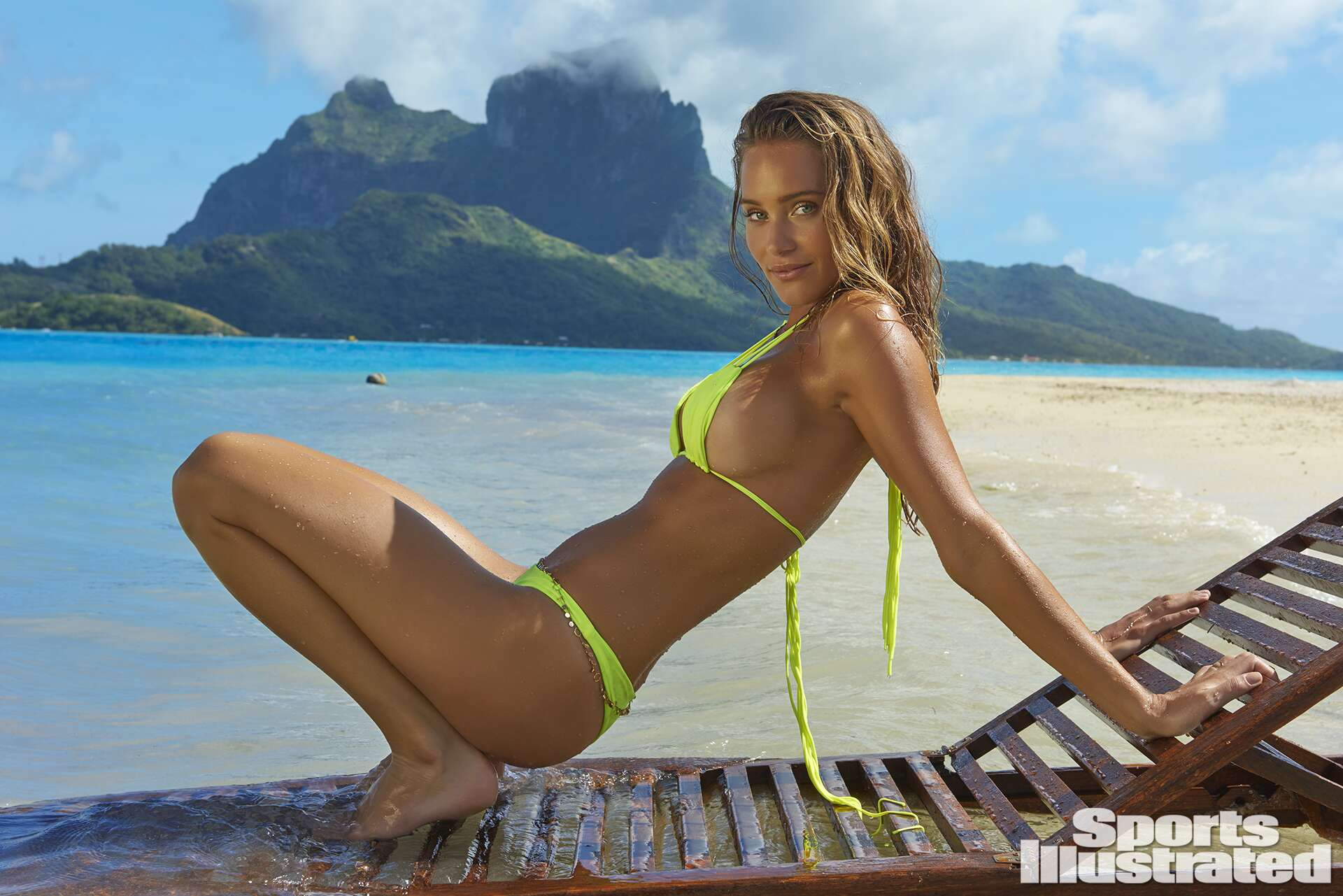 Hannah Davis was photographed by Yu Tsai in The Islands Of Tahiti. Swimsuit by MIKOH.
