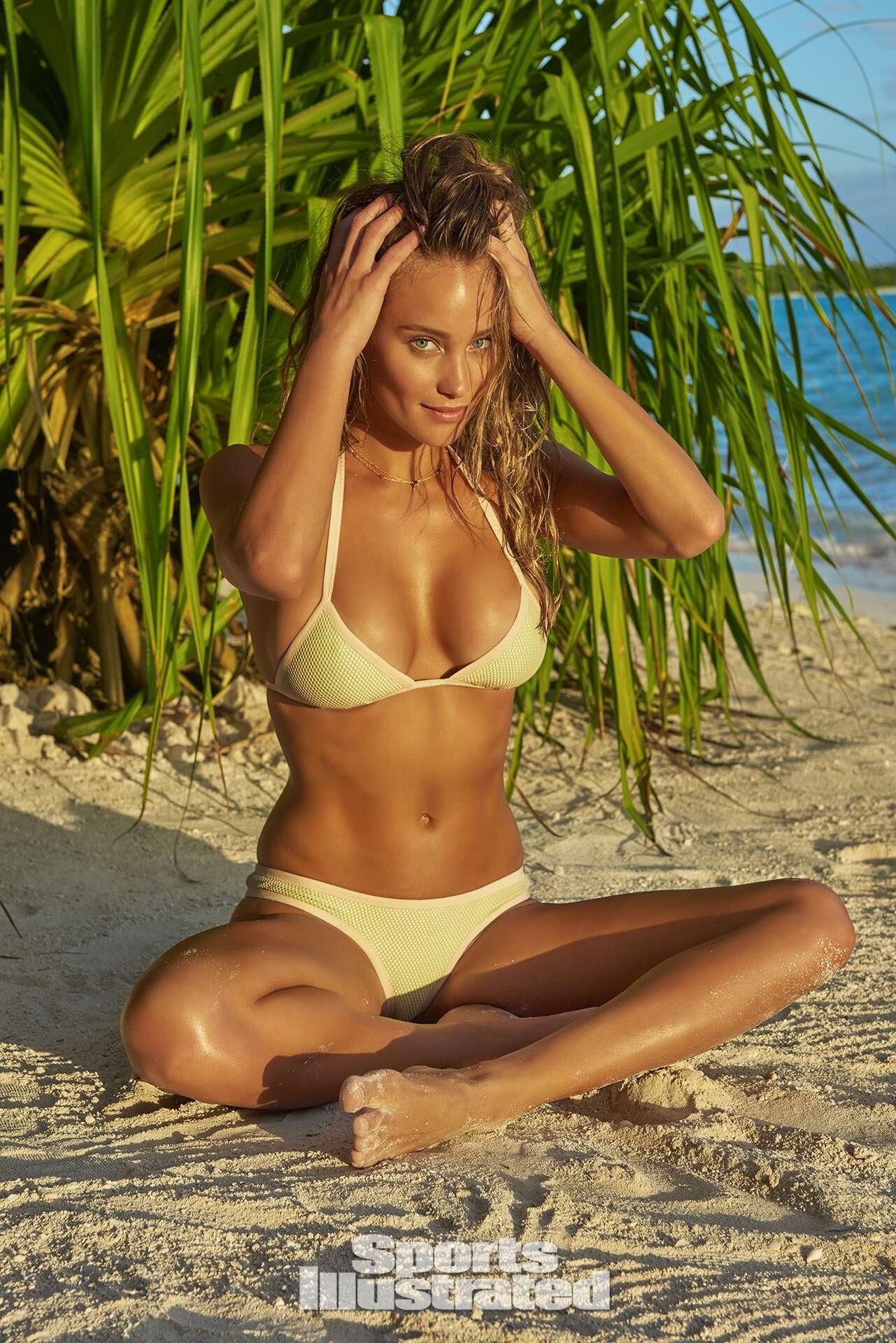 Hannah Davis was photographed by Yu Tsai in The Islands Of Tahiti. Swimsuit by Ola Vida.