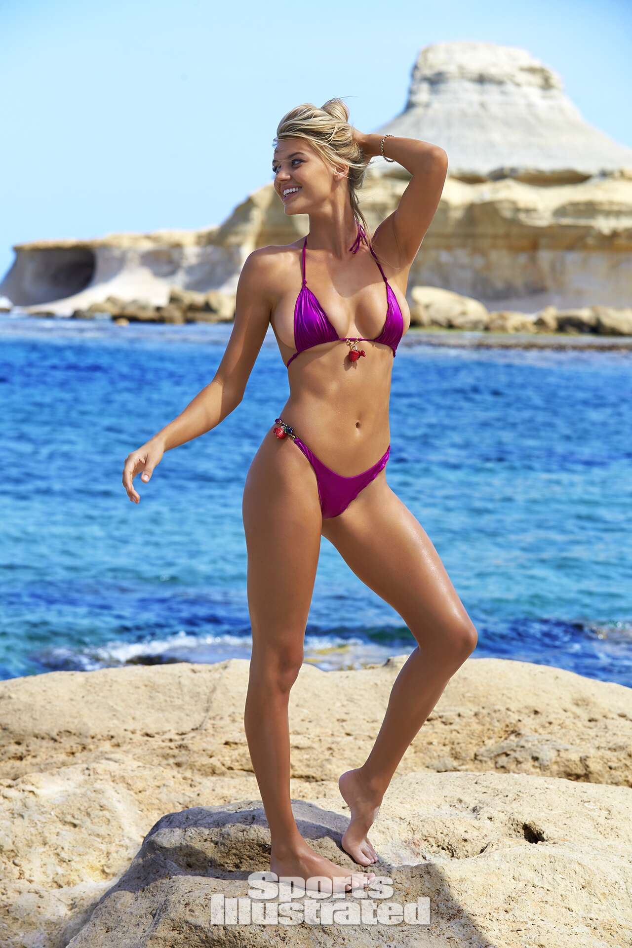 Kelly Rohrbach was photographed by Ben Watts in Malta. Swimsuit by Agent Provocateur.