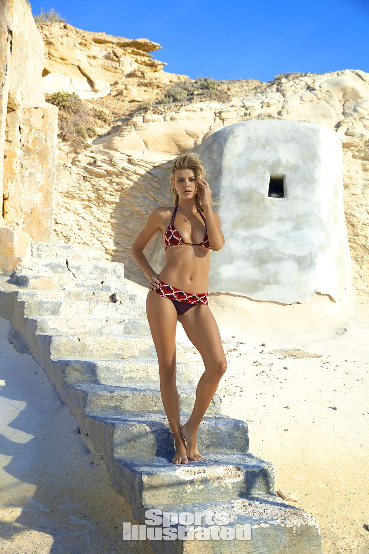 Kelly Rohrbach was photographed by Ben Watts in Malta. Swimsuit by Indie Soul.