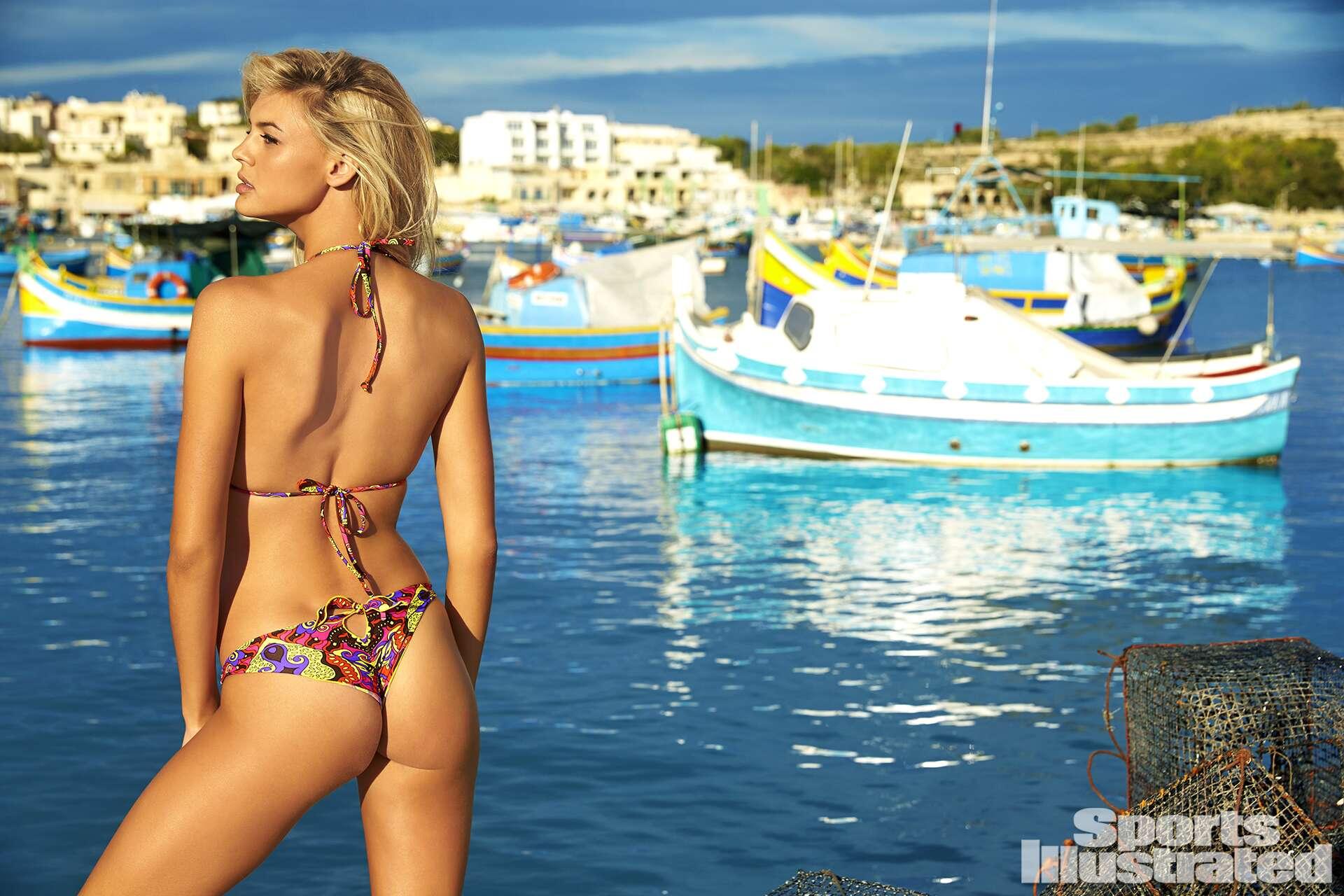 Kelly Rohrbach was photographed by Ben Watts in Malta. Swimsuit by Luli Fama Swimwear.
