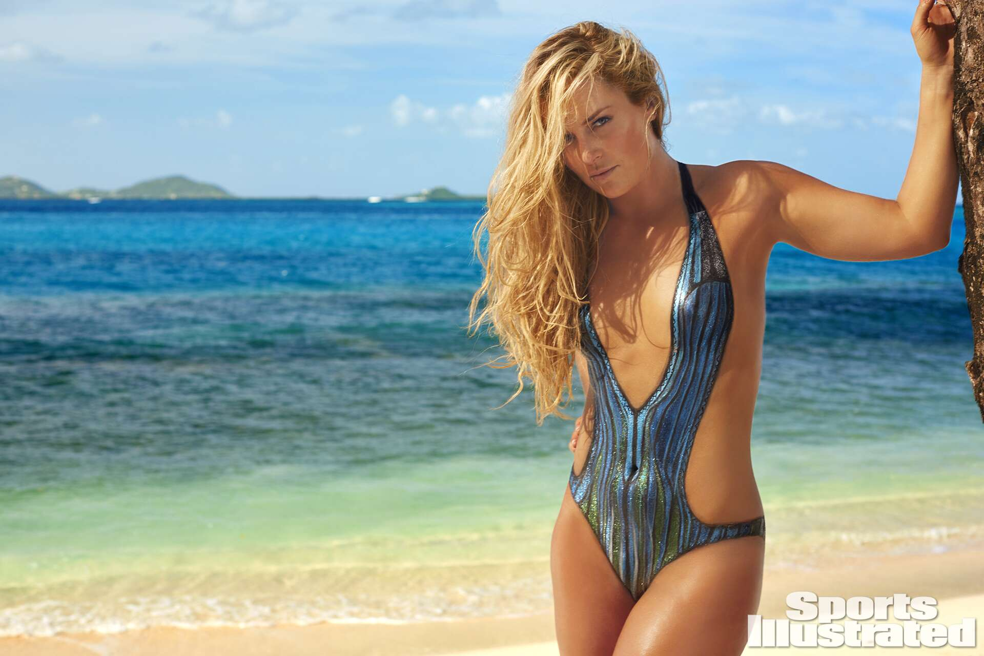 Lindsey Vonn was photographed by Frederic Pinet in Petit St. Vincent. Swimsuit inspired by Missoni.