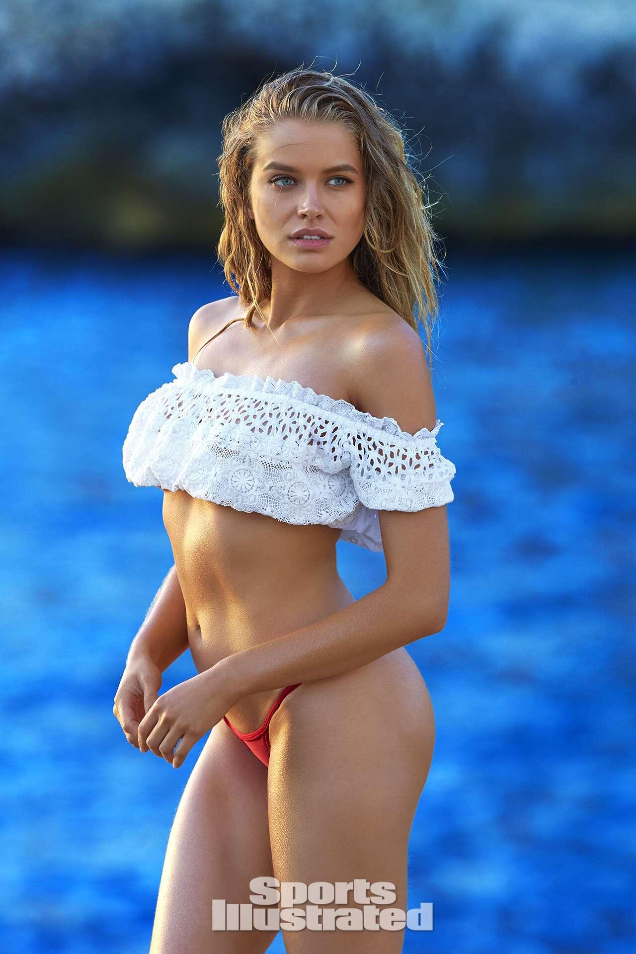 Tanya Mityushuna was photographed by Ben Watts in Malta. Top by Agua Bendita Swimwear. Swimsuit by Lola & Lamar.