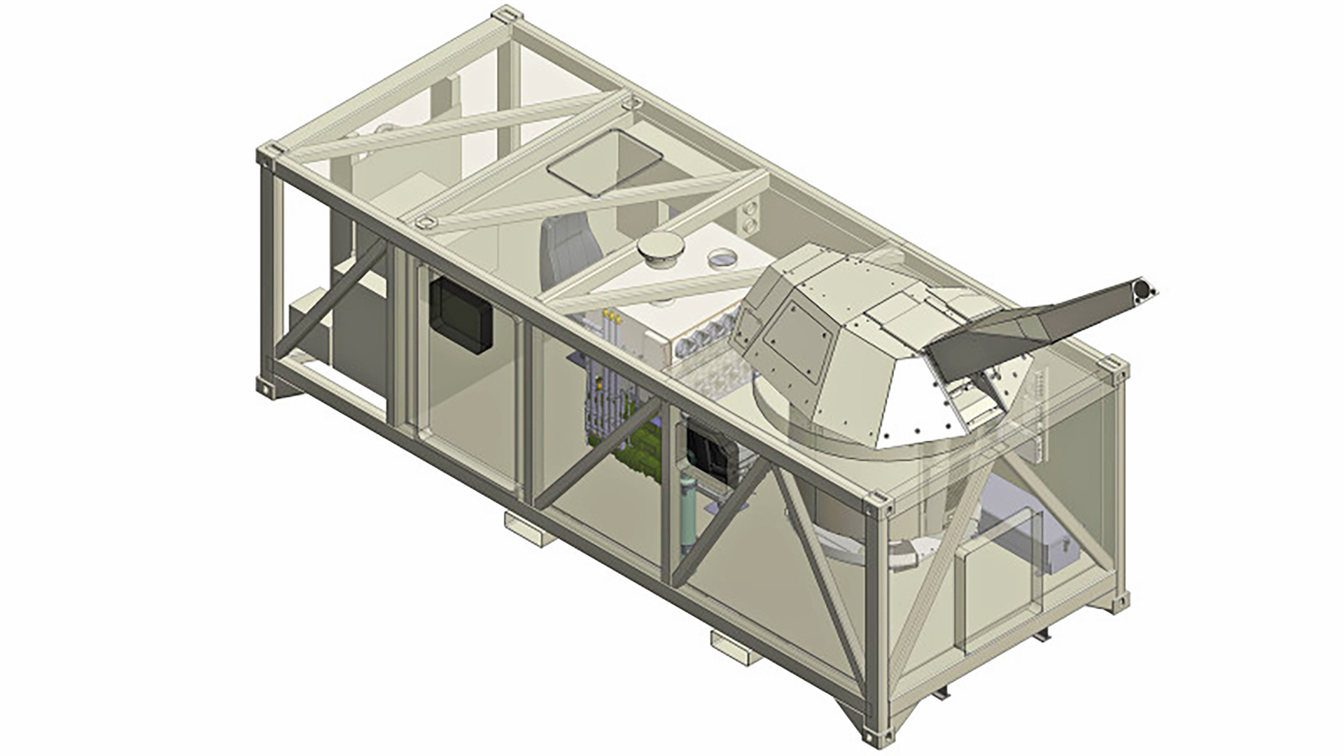 A cutaway of the containerized NEMO system.