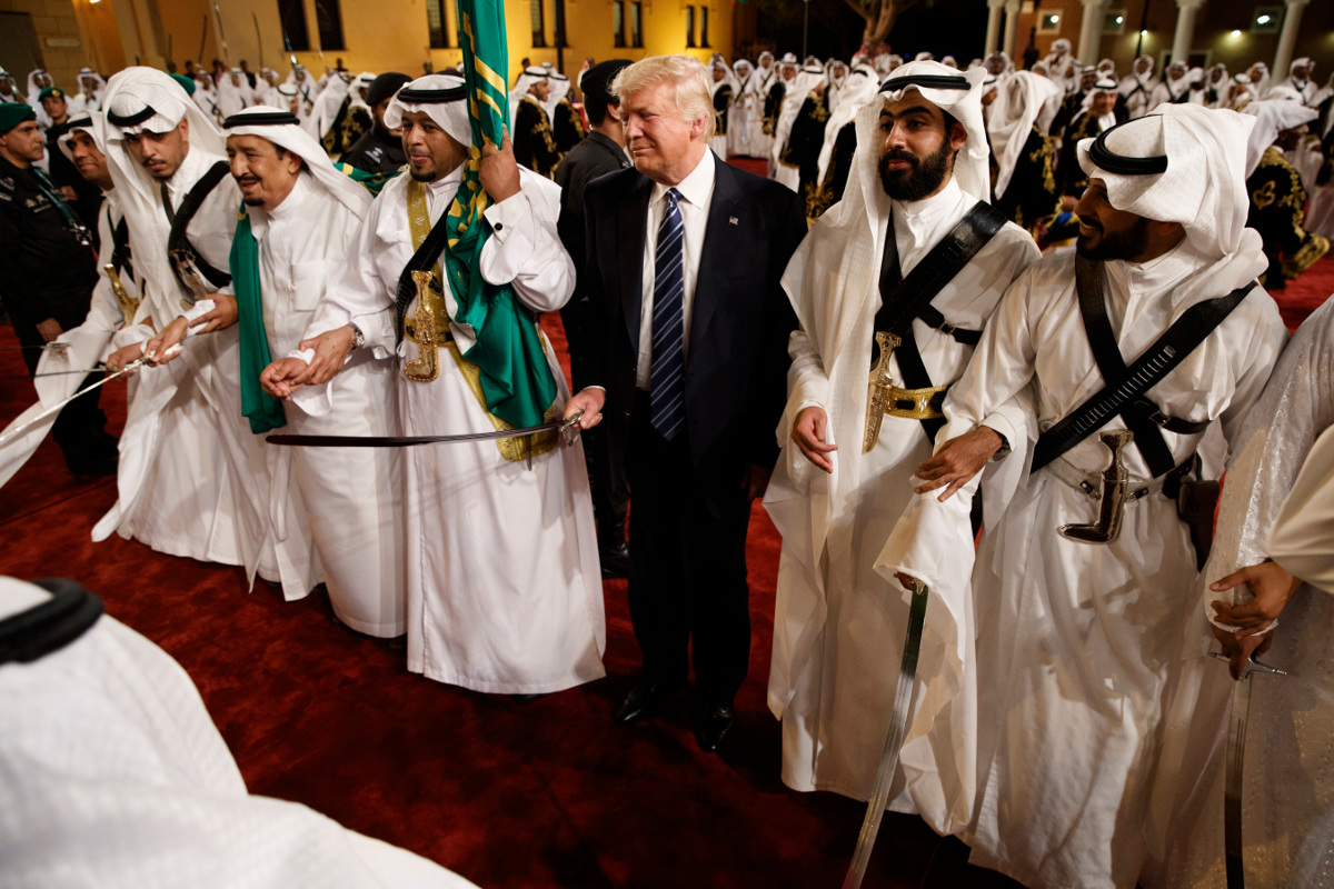 U.S. President Donald Trump at center, along with Saudi Arabia's King Salman, second from the left, in May 2017.