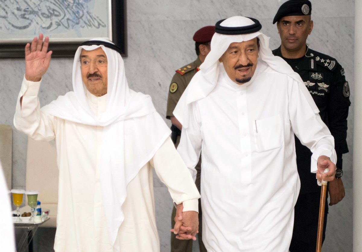 Kuwaiti Emir Sheikh Jaber al-Ahmad al-Sabah, left, with Saudi Arabia's King Salman during talks in June 2017.