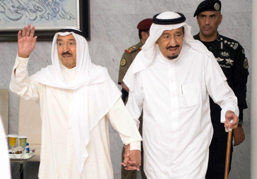 Kuwaiti Emir Sheikh Jaber al-Ahmad al-Sabah, left, with Saudi Arabia's King Salman during talks in June 2017.