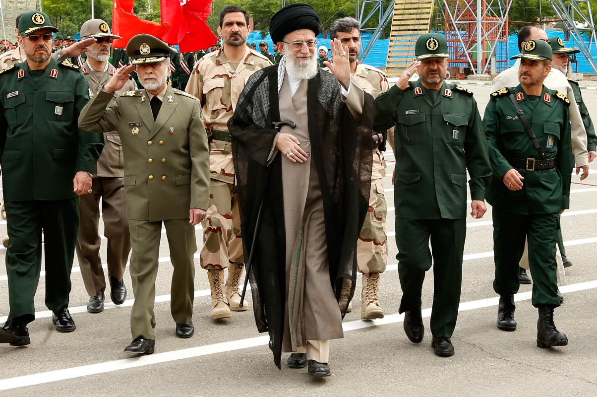 Iran's Supreme Leader, Ayatollah Seyyed Ali Khamenei, attends an IRGC graduation ceremony in 2014.