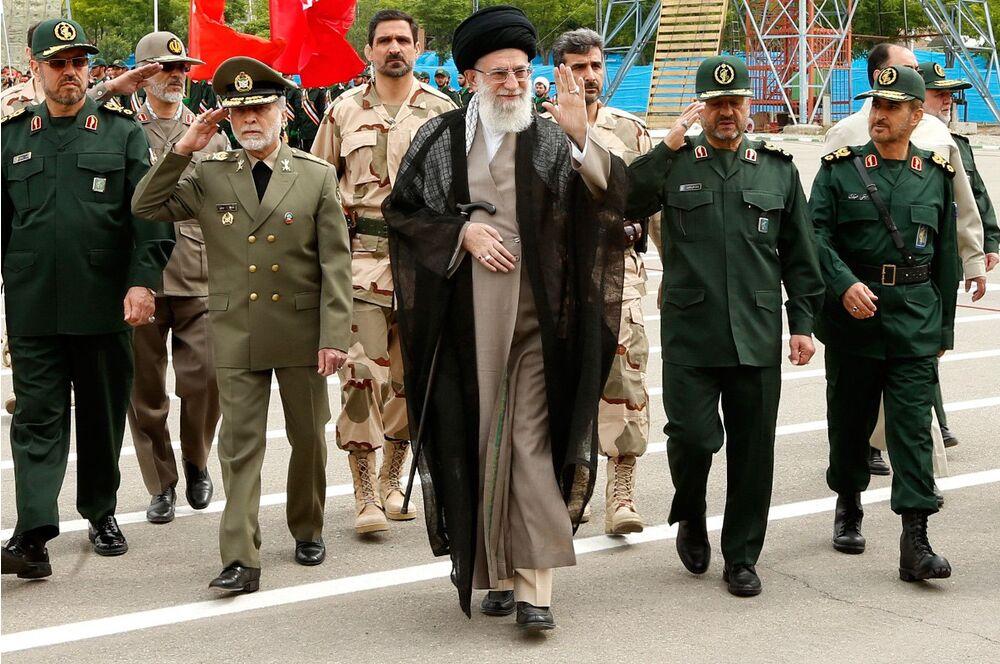 Iran's Supreme Leader, Ayatollah Seyyed Ali Khamenei, attends an IRGC graduation ceremony in 2014.