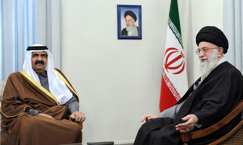 Then-Qatari Emir Sheik Hamad Bin Khalifa Al Thani meets with Ayatollah Khamenei in 2010.