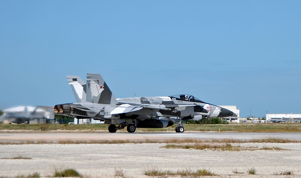 One of VFC-12's F/A-18A+ aircraft.