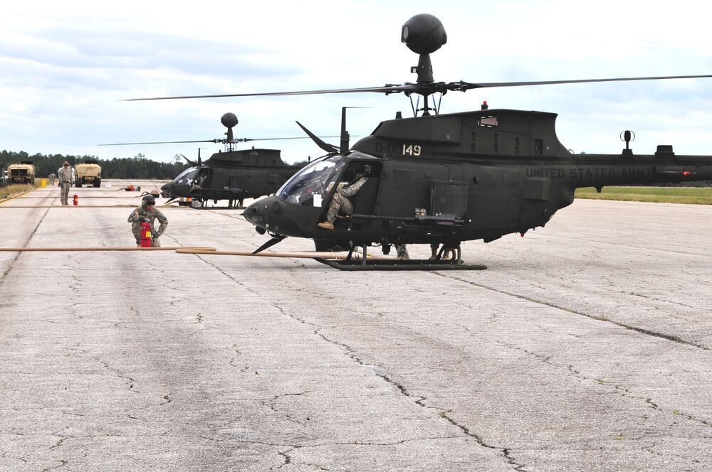 A pair of US Army OH-58D Kiowa Warriors sit at Avon Park Air Force Range in Florida during a Jaded Thunder exercise in 2011.