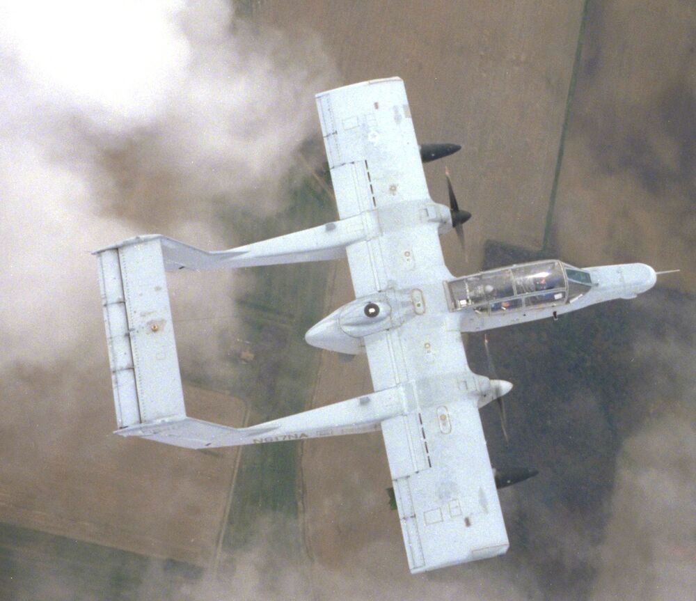This picture shows an ex-US Marine Corps OV-10 that subsequently went to NASA for flight test purposes, clearly showing its twin-boom configuration.