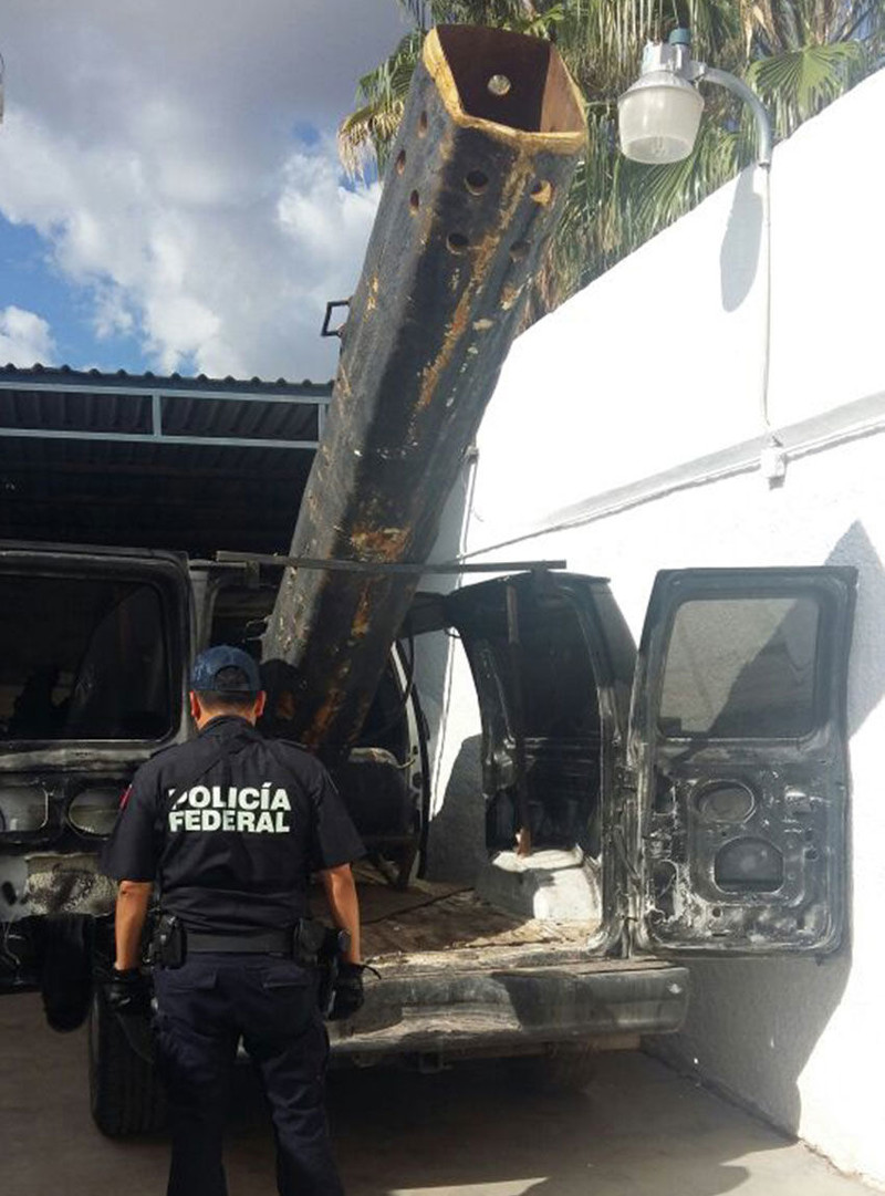 A modified van with a drug-launching cannon that Mexican Federal Police seized in 2016.
