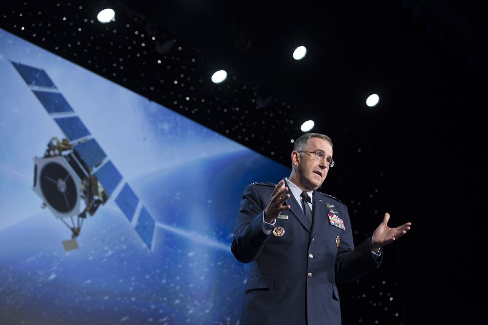 General Hyten addresses a space conference.