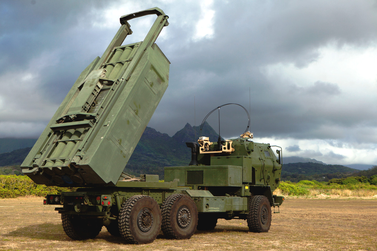 A truck-mounted HIMARS launcher.