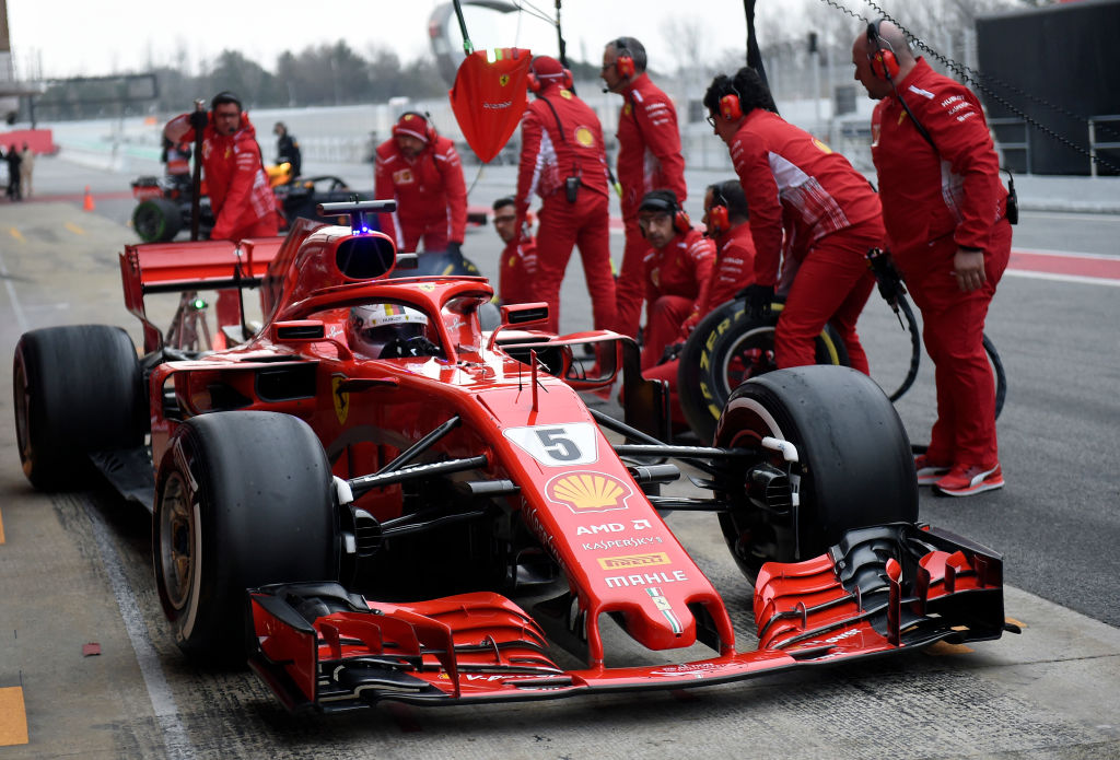 Ferrari's Sebastian Vettel pulls into the pits during F1 Winter Testing in Barcelona, Spain.