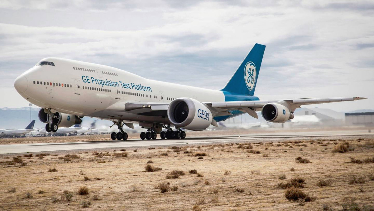 GE Aviation's Boeing 747 testbed aircraft with one of the company's new <a href=