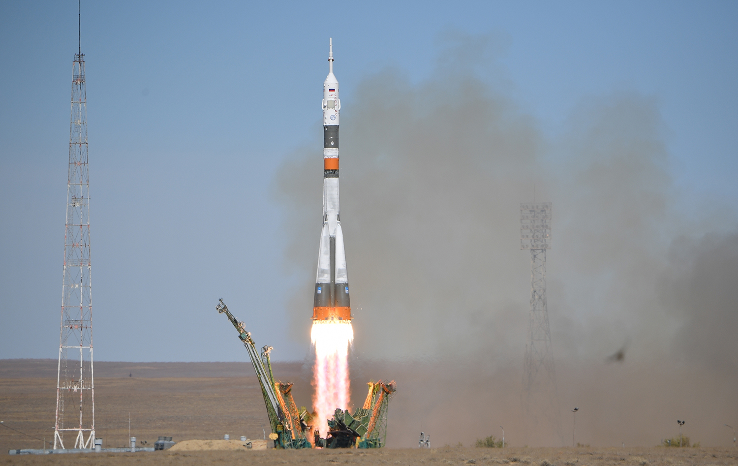 MS-10 lifts off on its way to the ISS. The crew would be back on the ground just minutes later.
