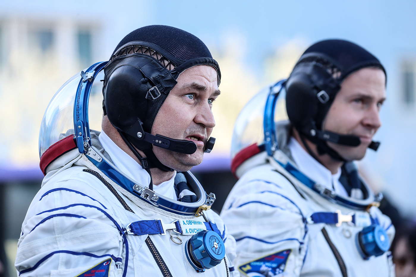 Cosmonaut Alexey Ovchinin and American astronaut Nick Hague on the way to their Soyuz rocket that will take them up to the ISS to join Expedition 57.