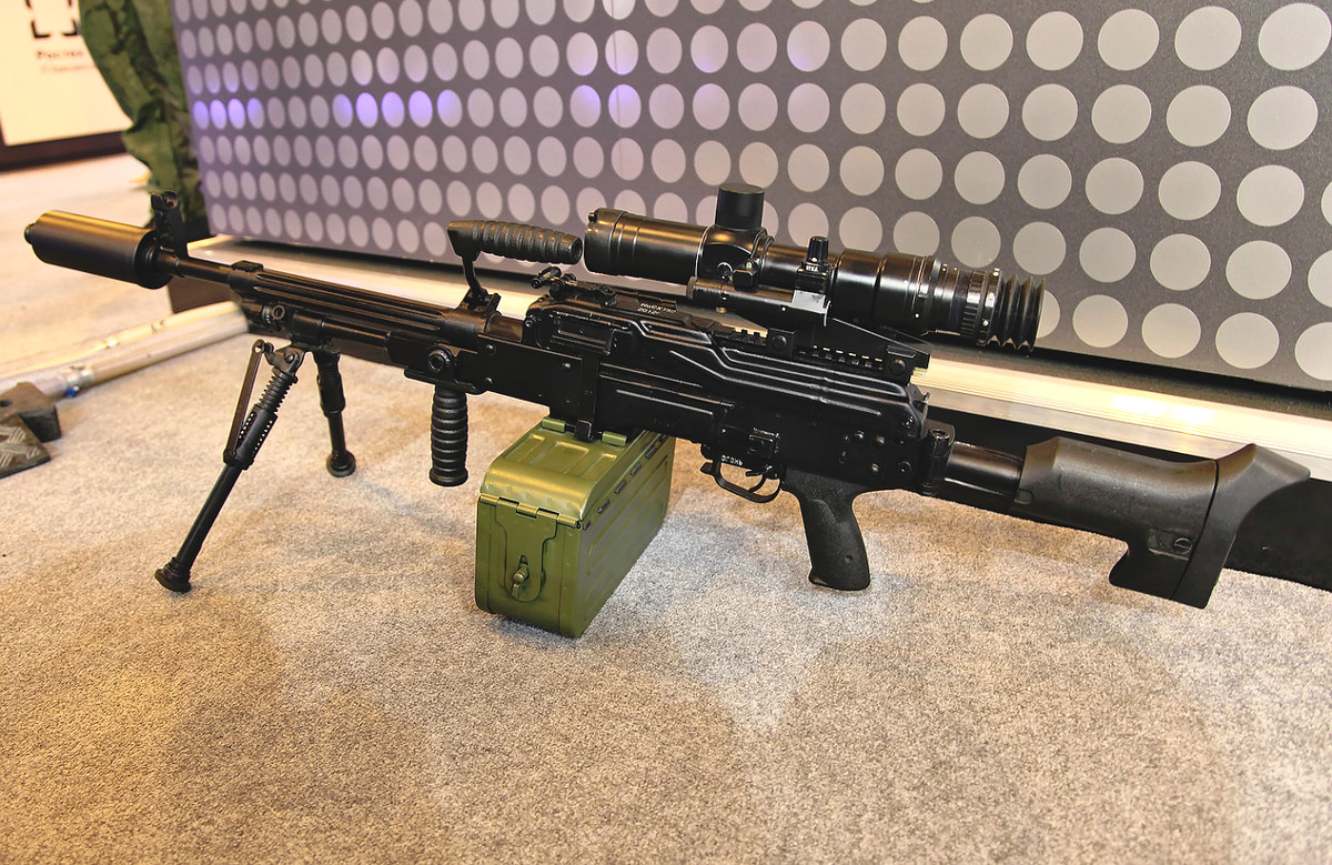 A Pecheneg-SP light machine gun, one of Russia's most modern versions of the PK-family.