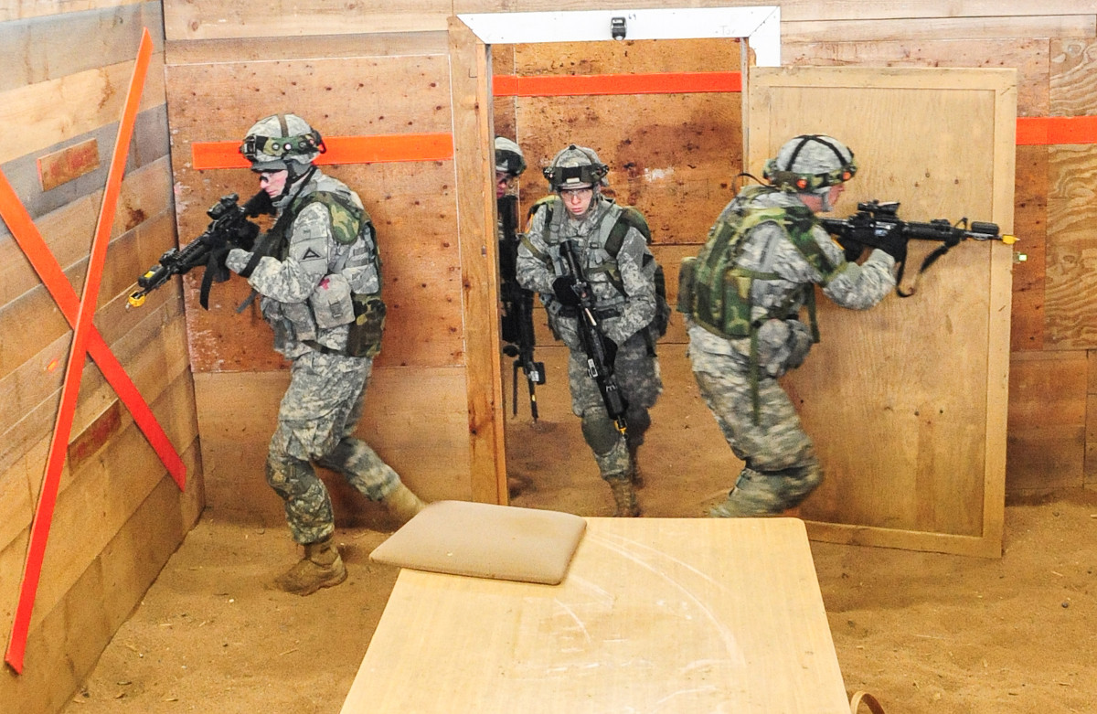US Army soldiers clear a room of mock enemies, not ghosts, in a shoot house at Grafenwoehr Training Area during a much more routine training exercise in 2013.