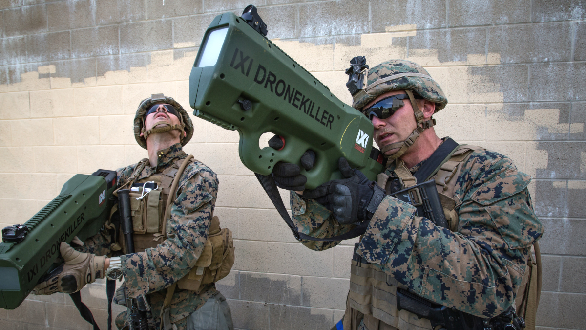 US Marines test the IXI Technology Dronekiller, a portable jammer that a single individual can carry and employ to disrupt a small drone's link with its operator, potentially causing it to crash.