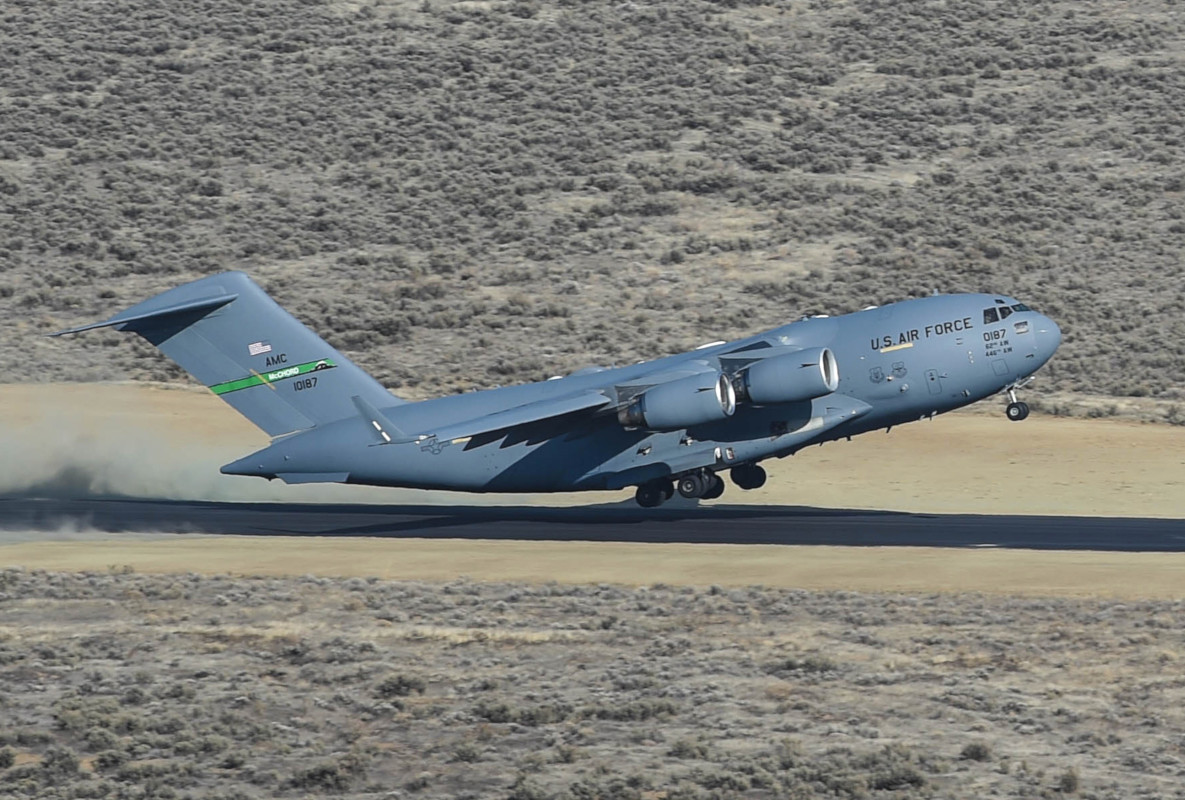 A C-17A Globemaster III from the 62nd Airlift Wing touches down at the Selah Airstrip within the Yakima Training Center in Washington State during an exercise.