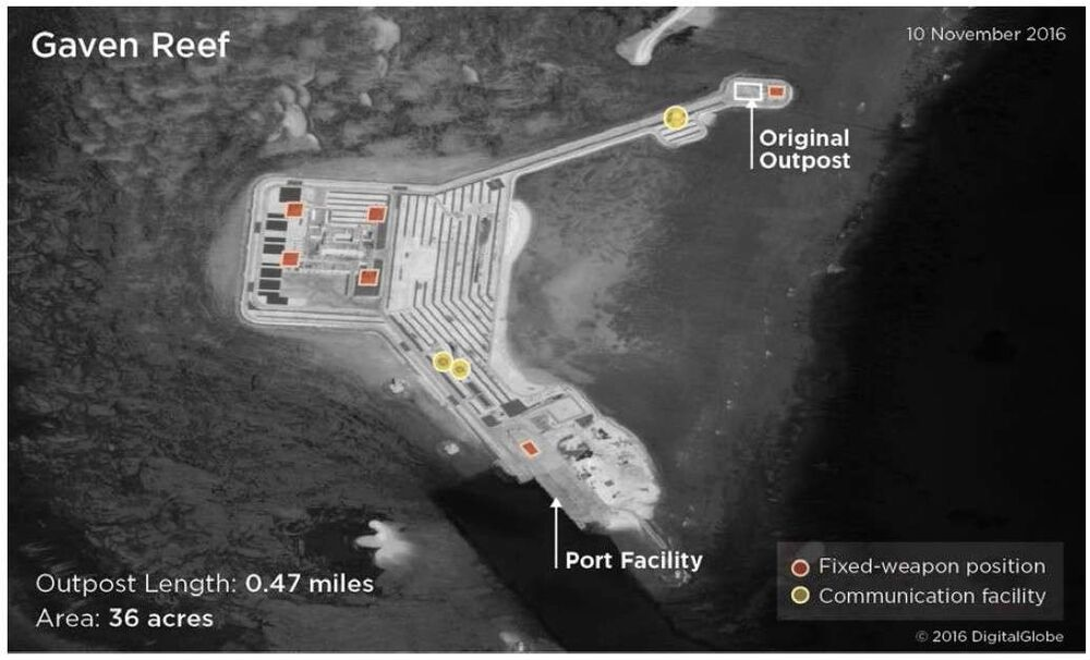 An annotated satellite image showing China's man-made outpost in Gaven Reefs.