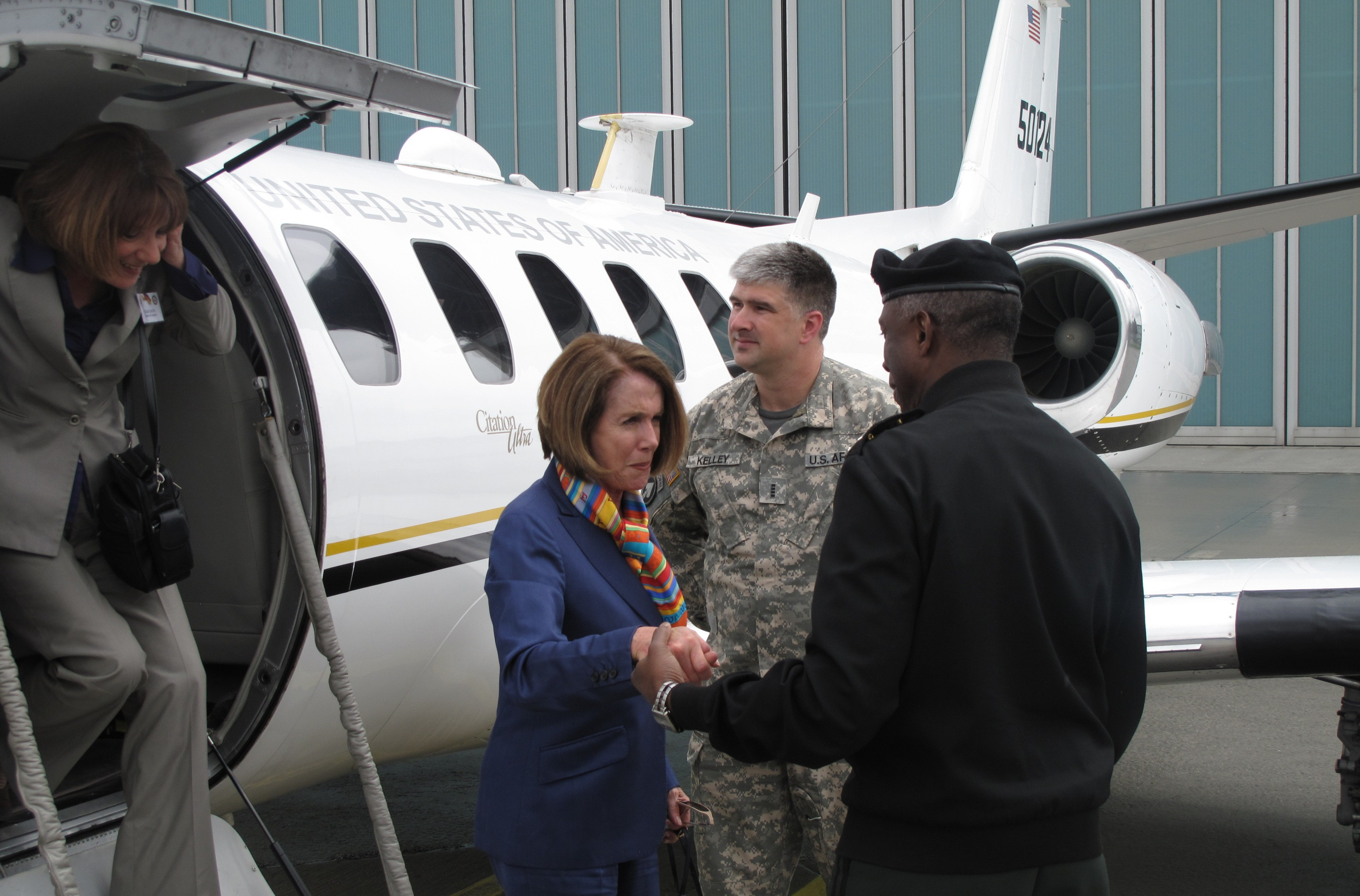 Speaker of the House Nancy Pelosi exists a U.S. military Cessna UC-35 aircraft during a visit to U.S. Africa Command in Germany in 2010.