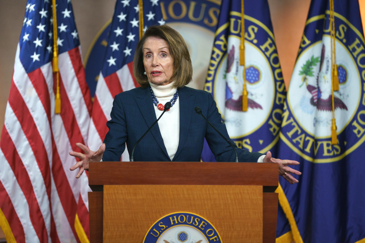 Speaker of the House Nancy Pelosi speaks at a press conference on Jan. 17, 2019, after Trump effectively canceled her planned overseas trip.