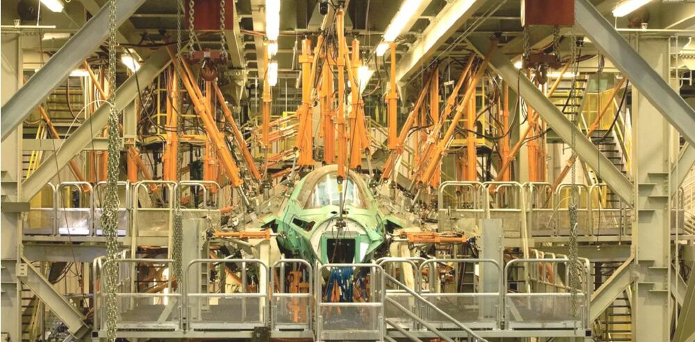 An F-35B test article undergoes structural testing.