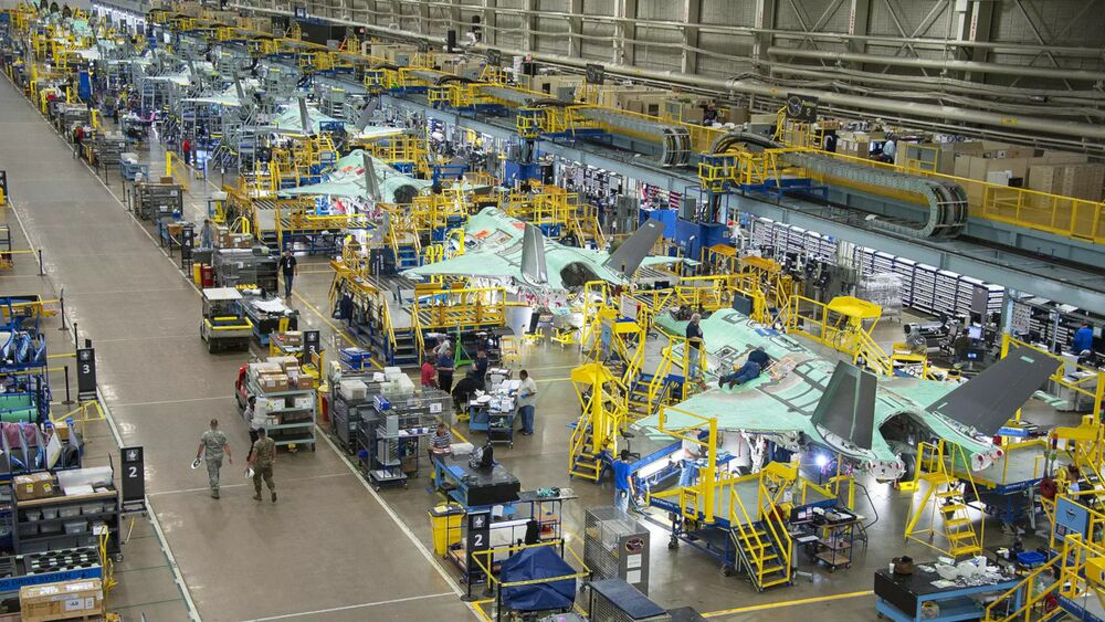 F-35As under construction at Lockheed Martin's plant in Fort Worth, Texas.