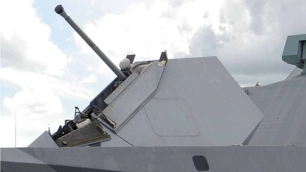 Mk110 gun system in a stealthy copula seen on a Swedish <em>Visby</em> class corvette.