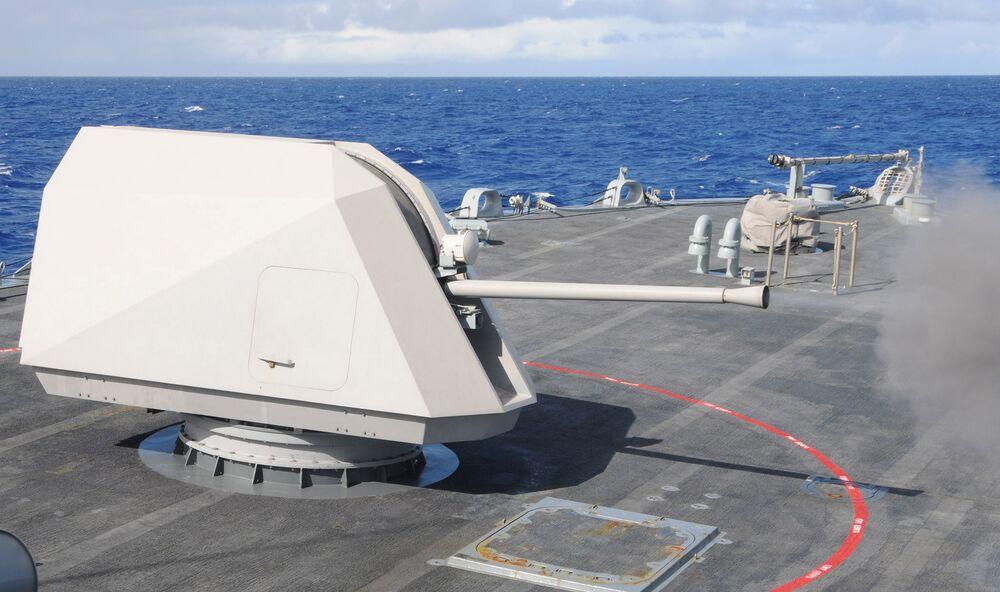 MK110 gun system firing away aboard the Littoral Combat Ship <em>USS Freedom.</em>
