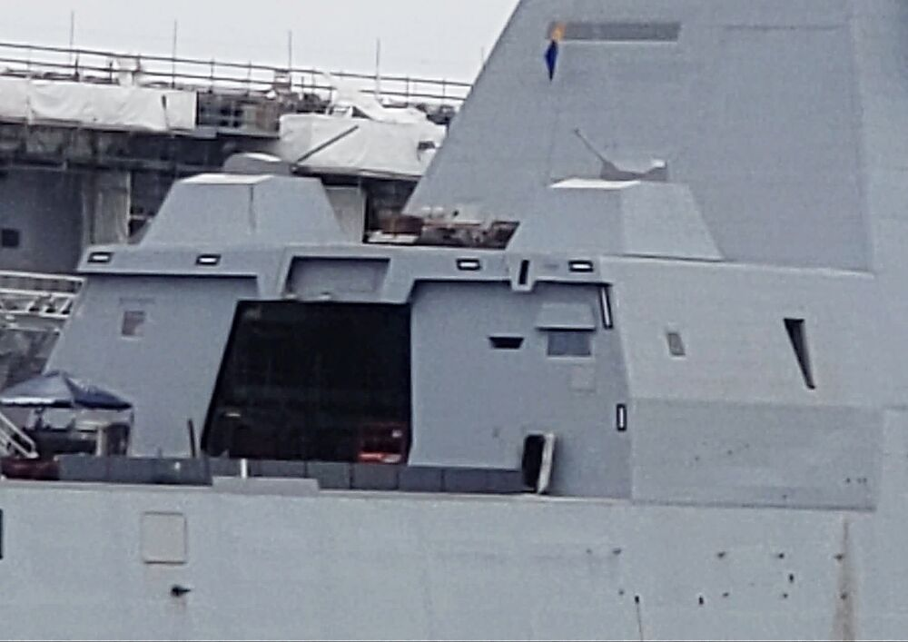 DDG-1000 seen with her new 30mm cannons installed while in port in San Diego.