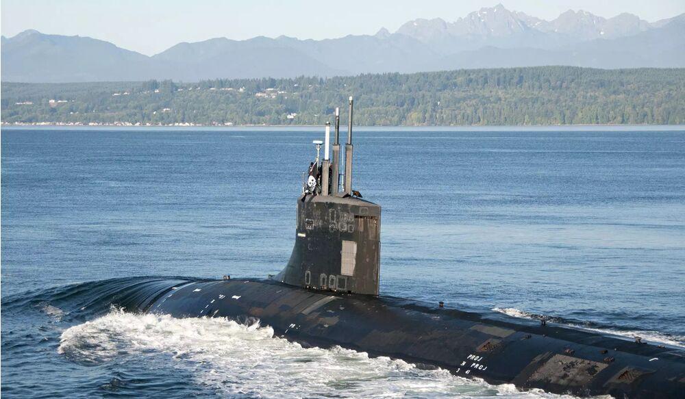 USS Jimmy Carter returns to port in September 2017, flying <a href=